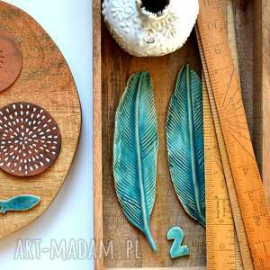 pióro ceramiczne, pióro, piórko, ptak, ceramika, turkus