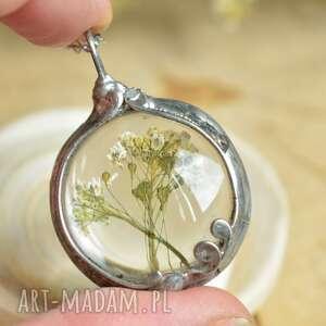 tasznik - naszyjnik z suszonym kwiatem tasznika, kwiatem, wisior