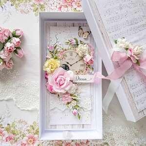 kartka w romantycznym stylu w pudełku - romantyczna kartka, różowy