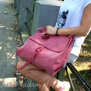 surowa baronowa brudno-różowa, brudny, róż, teczka, torba, pojemna