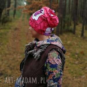 czapka damska sportowa dzianinowa kwiatowa, czapka, dzianina, kwiaty, eco, folk,