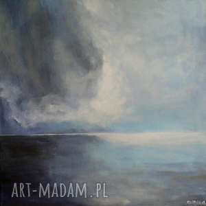 obraz na płótnie - morze w szaroŚciach 40 40 cm - morze, czerń, akryl