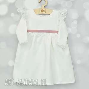 handmade dla dziecka sukienka do chrztu ecru z koronka i kokarda