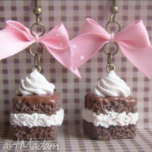 Kolczyki WZ-ki , ciastko, wz, modelina, fimo, kokardki, słodycze