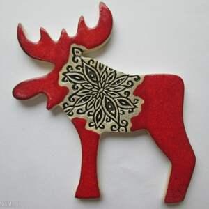magnesy magnes renifer czerwony, łoś, świąteczny, ceramiczny, magnes, upominek