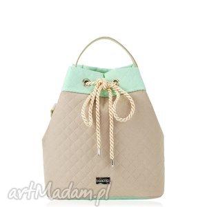 torebka taszka simple 813, pikowana, miętowaw, beżowa, taszka, worek, rękodzieło