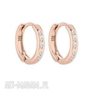 kolczyki kółka z różowego złota z kryształami