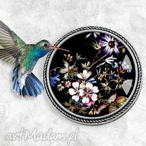 w egzotycznym ogrodzie - oryginalna broszka z kwiatami w szkle - szklana, lawendowy