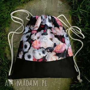 plecak z kordury - ,plecak,nieprzemakalny,kordura,kwiaty,vintage,torebka,