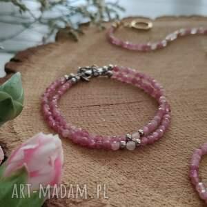 hand made bransoletka z turmalinem i kwarcem - cherry blossom