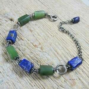 irart nefryt z lapis lazuli - bransoletka, nefryt, lazuli, srebro