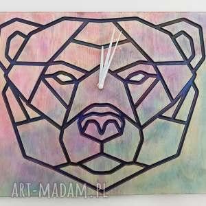 Drewniany zegar ścienny niedźwiedź z żywicą, zegar, las, góry, żywica,