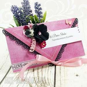 kartka ślubna - pink love, ślubna, kartka, kopertówka, wesele, ślub, prezent