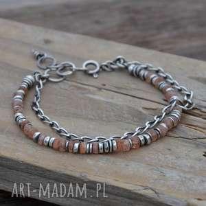 kamień słoneczny, srebro 925, bransoletka z łańcuszkiem - kamień
