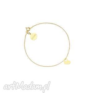złota bransoletka z malutkim serduszkiem, bransoletka, modowa, złota, serduszko