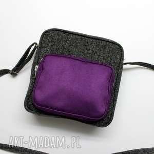 upominek Chlebak - tkanina antracyt i fiolet, elegancka, nowoczesna, pakowna