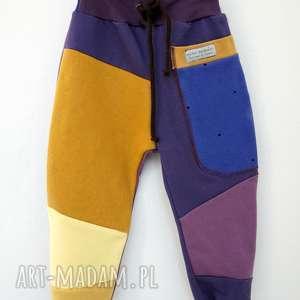 patch pants spodnie 104 - 152 cm miód fiołki, ciepłe, bawełna, recykling, wygodne, na
