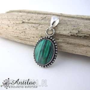 Srebrny wisior z malachitem, srebro oksydowane, srebrny wisior, zielona biżuteria