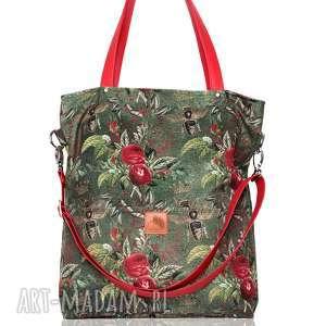 handmade torebki duża zielona torba w kwiaty i pszczoły