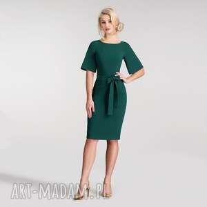 sukienki sukienka maja midi zieleń, sukienka, midi, rękawy, pasek, zieleń