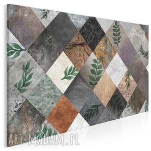 obraz na płótnie - rośliny karo romby 120x80 cm 58501, karo, liście