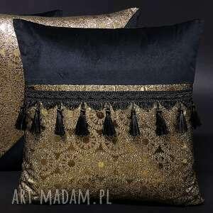 poduszka secessio 45x45cm - wzór 1 czarno-złota z frędzlami