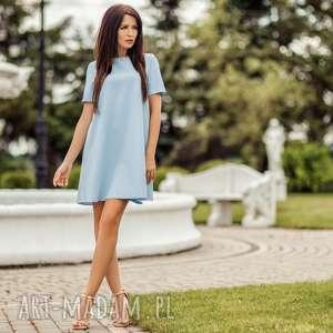 sukienka trapezowa z krótkim rękawem, t203, jasnoniebieski, sukienka