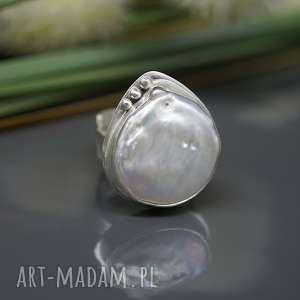 Perła słonowodna - pierścionek Veralu , srebrny, pierścionek, perła-naturalna