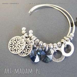 SREBRO, kolczyki swarovski blue w srebrze, swarovski, srebro, zawieszki, koła