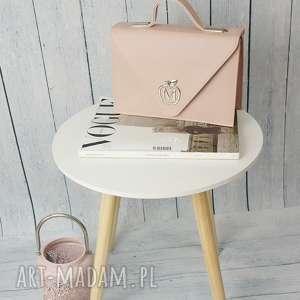 sztywna torebka/teczka manzana klasyczna- pudrowy róż, torebka, teczka, torebki