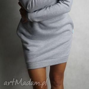 dresówka długi rękaw - m l, dresowa, tunika, sukienka, kieszenie, ciepła ubrania