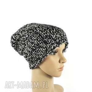 gruba czapka unisex melanżowa zrobiona na drutach, czapkazimowa, grubaczapka