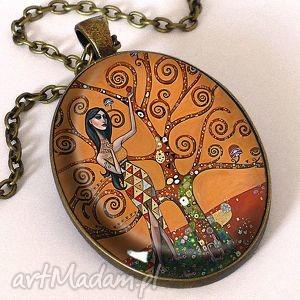 handmade naszyjniki antyczna mozaika - owalny medalion z łańcuszkiem