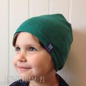 ręcznie zrobione dla dziecka zielona czapka bawełniana