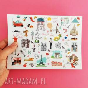 naklejki paryż, notesy, naklejki, paris, prezent, rożowe scrapbooking, podróż
