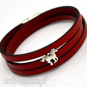 bransoletki bransoletka magnetoos triple small horse red, bransoletka, skóra