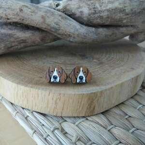kolczyki beagle, ręcznie malowane, stal chirurgiczna, pies, drewno