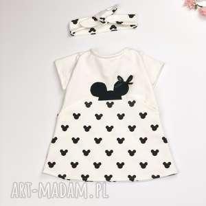 ręcznie wykonane ubranka sukienka mouse ecru z opaską