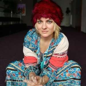 czapka futrzana zimowa ciepła handmade kolor bordo amarant, futro, zimowa, etno