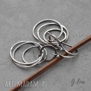 Kolczyki srebrne koła, srebro, surowe