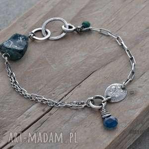 Bransoletka mini ze szkłem antycznym i apatytem neon, srebro, szkło, afgańskie