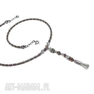 Hematite line - /brown-grey / -choker, srebro, oksydowane, hematyty, kryształki