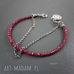 Rubin z Longido Tanzani - bransoletka, rubin, srebro