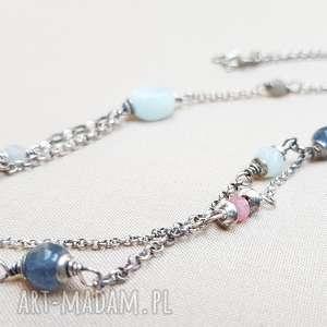 naszyjnik ze srebra i błękitnych kamieni, srebro, oksydowane, lekki, krótki