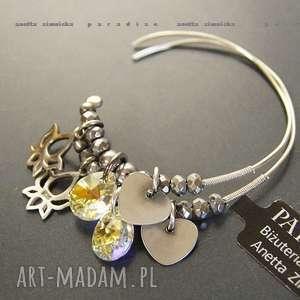 srebro, kolczyki swarovski crystal ab w srebrze, swarovski, hematyty, srebro