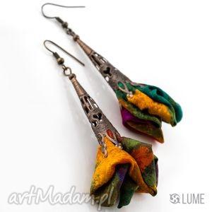 lume handmade kolczyki z materiału długie wielokolorowe, kolczyki, unikatowe