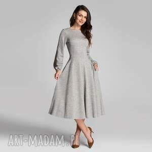 sukienki sukienka aniela total midi melanż szary, midi, jesień
