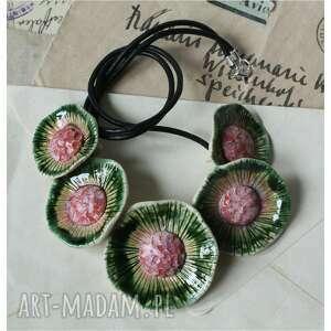 naszyjnik kwiatowy, ceramika, naszyjnik, kwiaty