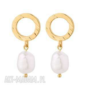 sotho złote kolczyki z naturalnymi perłami modne, 925