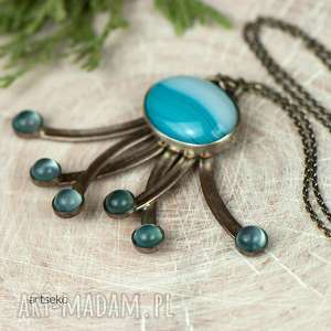 Prezent Kalamarnica z niebieskimi agatami a606 , naszyjnik, wisior, agat, srebro